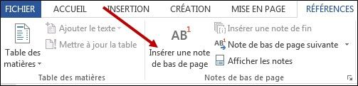 Insertion de notes de bas de page