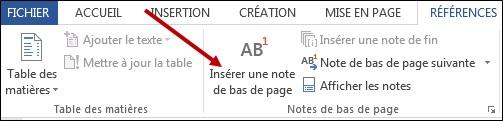 Insertion de notes de bas de page